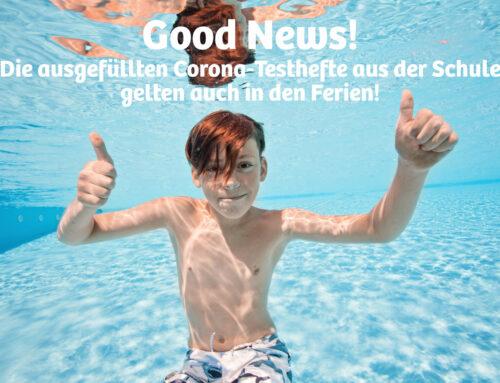 Good News für Ferien-Kids: Einlass in die Frankfurter Bäder mit ausgefülltem Corona-Testheft!